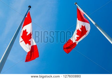 Two Canadian Flags Waving Blue Grey Sky