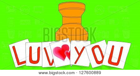 Love You Text On Notes Concept