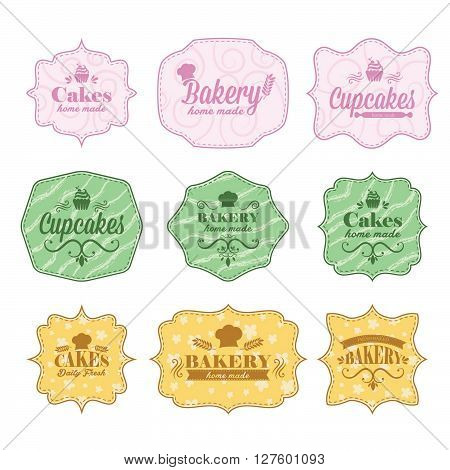 Collection of vintage retro bakery labels. Concept of graphic clip art work