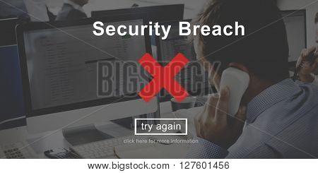 Security Breach Risk Dangerous Hacking Concept