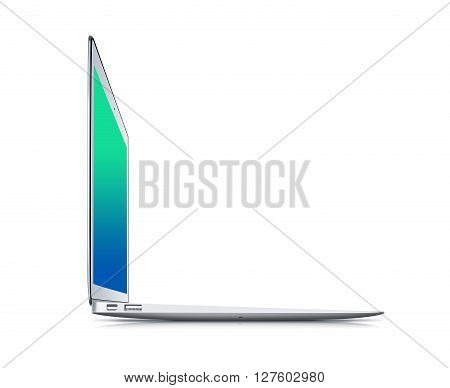 Notebook isolated on white background, 3d illustration. Modern laptop design presentation. Blank empty display. Portable open web note book template. Desktop device mock up. Thin notebook mockup. Ajar computer side.
