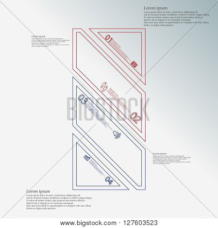 Bar rectangle infographic illustration template askew divided to four red and blue parts. Each part contain text number and sign and is created by double outline contour.