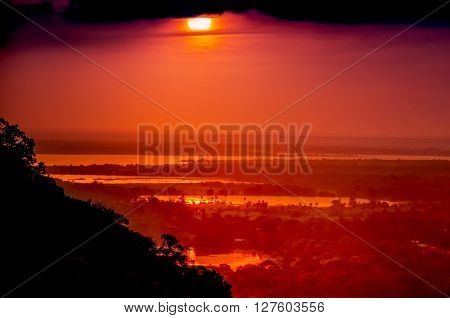 Romantic scenery of Sri Lanka.Stunning red sunset Sri Lanka.