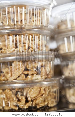 Walnuts In Takeaway Containers At Shop