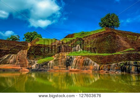 Sigiriya Lion Rock Fortress in Sri Lanka. King's swimming pool.