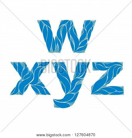 Herbal Style Blue Vector Font, Typeset With Floral Elegant Ornament. W, X, Y, Z, Lowercase Letters.