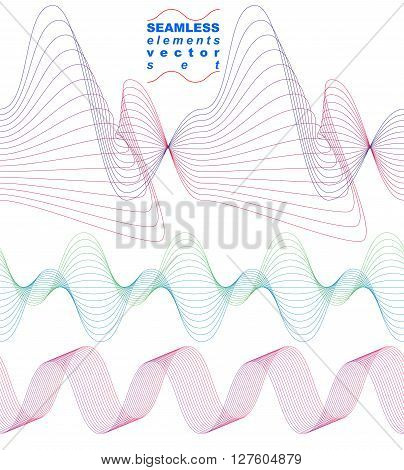Elegant flowing lines vector background abstract textile continuous backdrop.