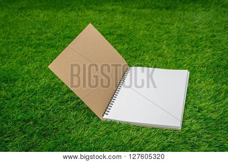Blank catalog, magazines,book mock up on green grass