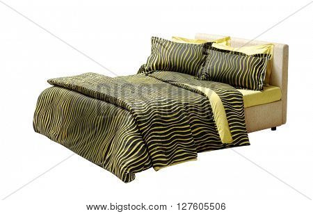 double bed isolated on white with animal print pattern black and yellow covers