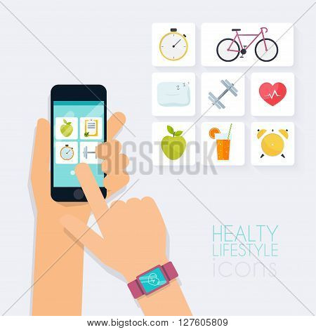 Fitness App Concept On Touchscreen. Mobile Phone And Tracker On The Wrist. Icons For Web: Fitness, H