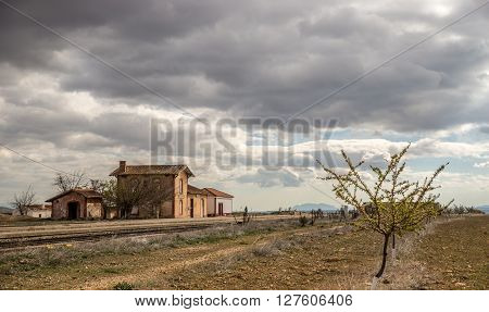 Old abandoned vintage barn in the plains of Andalusia, Spain