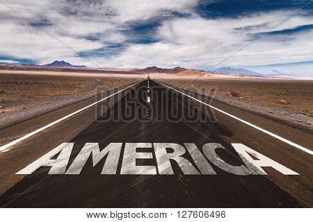 America written on desert road