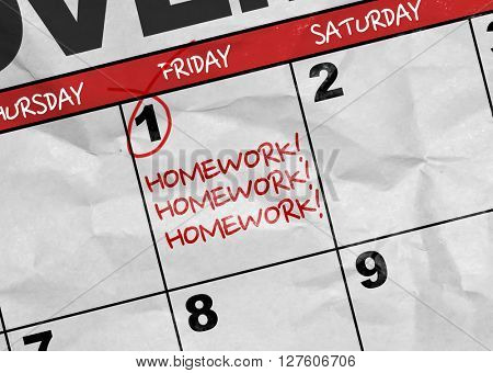 Concept image of a Calendar with the text: Homework