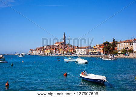 View of Rovinj little city in Istria Croatia