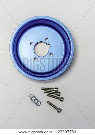 ergal blue pulley with screws on white backdrop