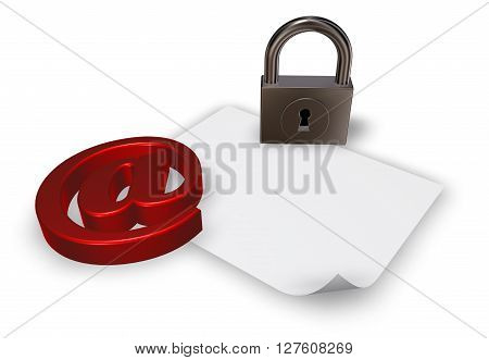 email symbol with padlock and blank paper sheetd - 3d llustration