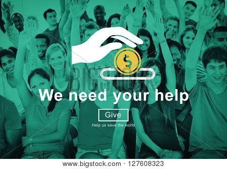 Money Donations Welfare Helping Hands Concept