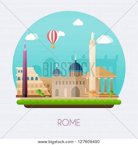 Rome. Skyline And Vector Landscape Of Buildings And  Famous Landmarks. Vector Illustration.