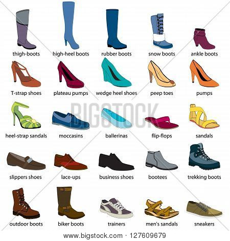 Footwear, names. Men's and women's footwear. Color footwear set, realistic footwear. Footwear with names. Boots, shoes, sandals, sport footwear. Footwear color icons with names.