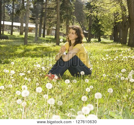 Young European woman with brown hair sit on meadow with white dandelions with flower in hand.