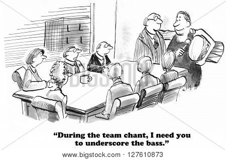 Business cartoon about increasing team spirit with a team chant.
