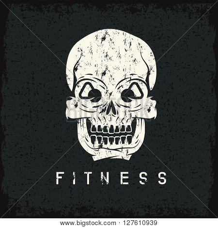 Skull With Kettlebells In Eyes Grunge Fitness Concept