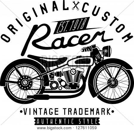 Racer Vintage Vector Print With Motorcycle And Wrenches