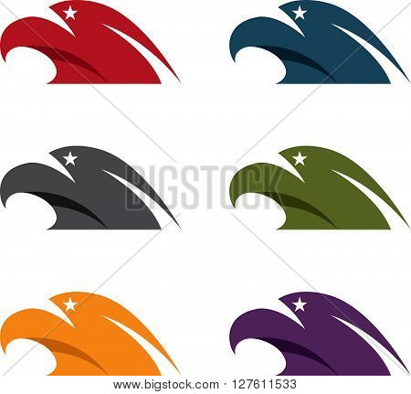 Simple Vector Illustration Set Of Eagles With Stars