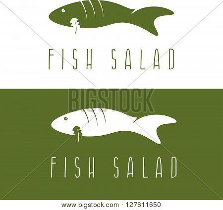 Fish Salad Negative Space Vector Design Template