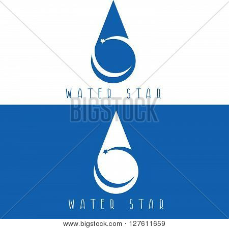 Water Drop With Star Vector Design Template