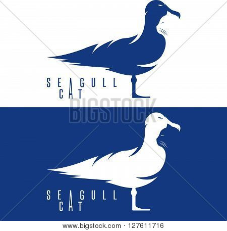 Negative Space Vector Concept With Cat And Seagull