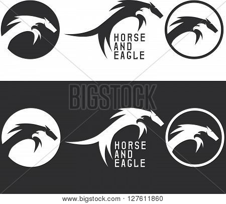 Negative Space Vector Concept With Eagle And Horse