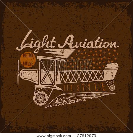 Retro Aviation Grunge Vector Design With Airplane And Wings
