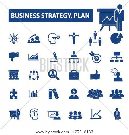 business plan strategy icons