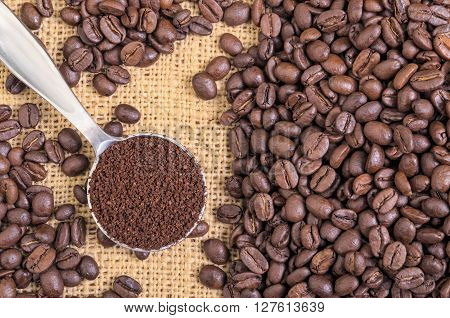 Whole Coffee Beans on Burlap with Ground Coffee in Spoon