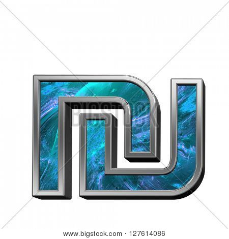 Sheqel sign from blue fractal alphabet set isolated over white. 3D illustration.