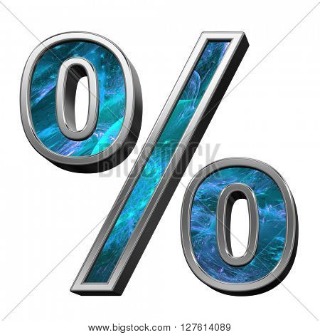 Percent sign from blue fractal alphabet set isolated over white. 3D illustration.