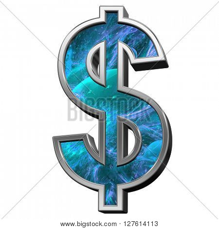 Dollar sign from blue fractal alphabet set isolated over white. 3D illustration.