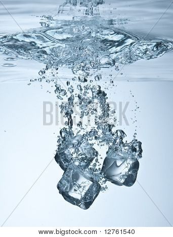 Close up view of the ice cubes in water