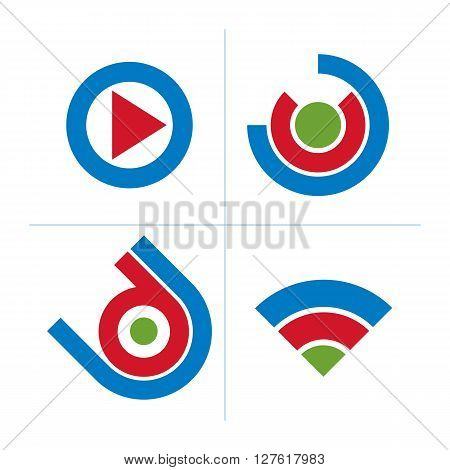 Set Of Abstract Icons, Play Sign. 3D Vector Push Buttons, Multimedia Arrow Symbol Isolated On White