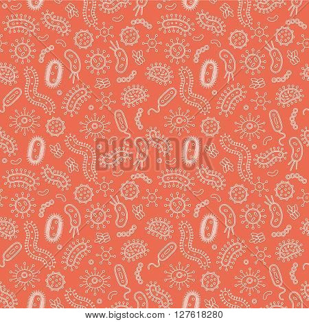 Orange Bacteria and germs in a repeat pattern