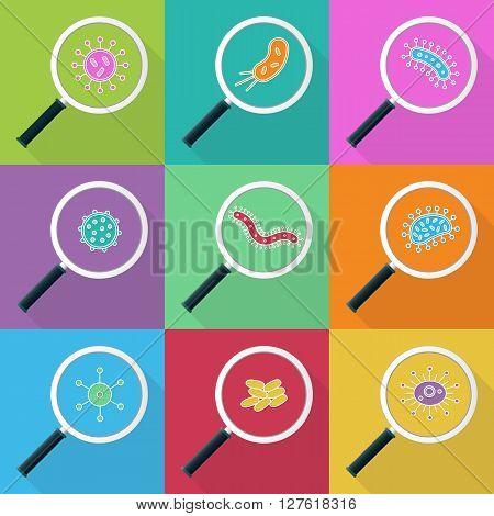 Germs and magnifying glass icon Set - vector illustration