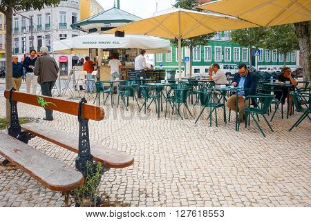 Lisbon, Portugal.- September 11: Traditional old buildings on September 11, 2014. Beautiful street view of historic architectural in Lisbon, Portugal, Europe