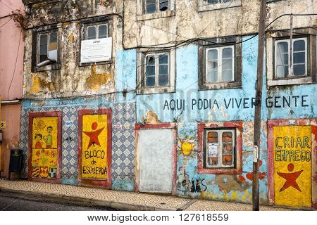 Lisbon, Portugal.- September 11: Old Town Lisbon on September 11, 2014. street view of typical houses in Lisbon, Portugal, Europe