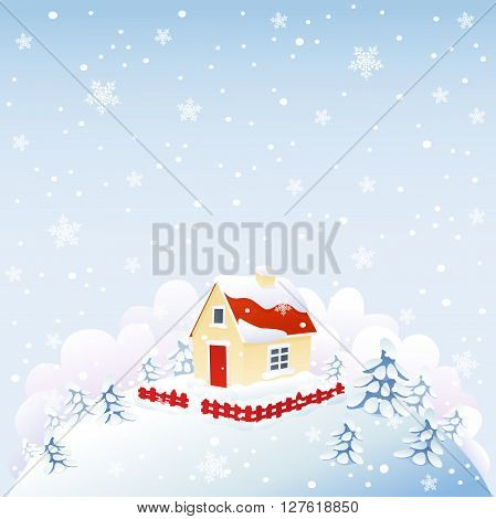 Cute house in winter time on snowing hill