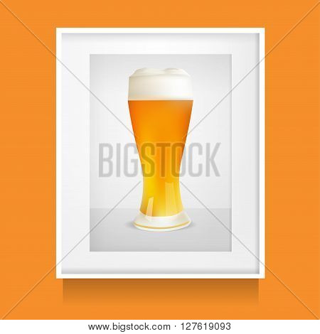 Realistic Glass Of Beer In White Frame Photoframe. Vector Illustration