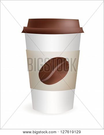 Realistic Plastic Coffee Cup with Bean to Go. Vector Icon Illustration. Isolated on white Background