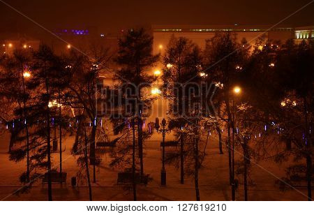 View of the Kirov Square. Irkutsk, Russia. Nobody.
