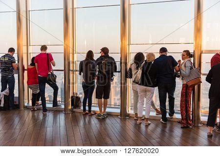 People At The Observation Deck Of Burj Al Khalifa