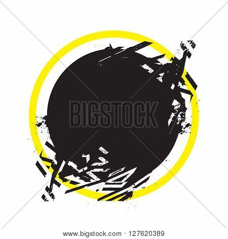 Vector Grunge Stylized Geometrical Shape With Splashes And Splatters. Circle Symbol Exploded And Dam
